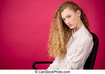 close up photo of attractive woman with perfect hair curls