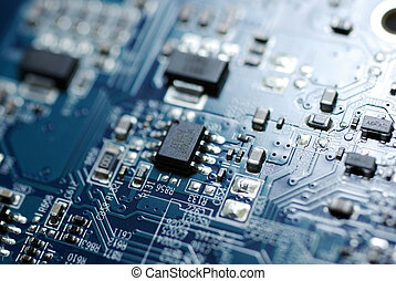 Close up photo of blue PC circuit board. Technology...