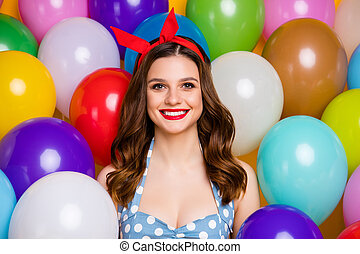 Close up photo of cheerful charming elegant girl smile look in camera enjoy anniversary occasion wear trend dress singlet on air balls helium baloons background