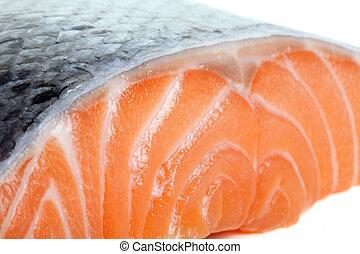Close up photo of fresh salmon