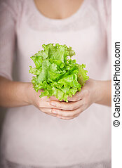 Close up photo of lettuce in female hands