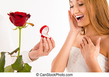 Close up photo of making proposal of marrige to happy girlfriend