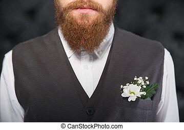 Close up photo of man beard