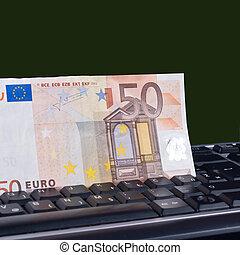 money on the keyboard