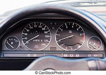 Close-up photo of old car odometer