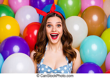 Close up photo of positive astonished sweet girl celebrate anniversary occasion impressed scream wow omg wear blue dress tank-top over air balls baloons background