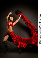 lady in gypsy costume dancing flamenco  on a gray background