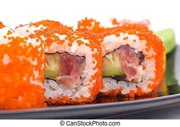 sushi with caviar