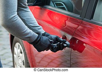 Thief Opening Car's Door