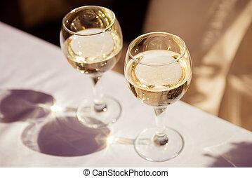 Close up photo of wine glasses