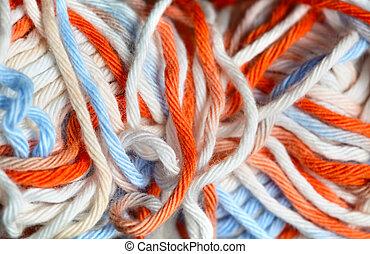 Close up photo of yarn