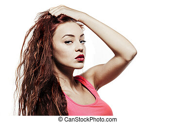 close up photo of young beautiful woman model with red curly hair