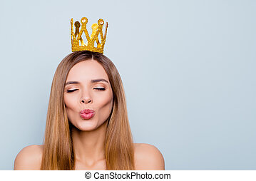 Close up photo portrait of cute pretty attractive brunette she her girlfriend making wish prince would come from far far away to save prisoned princess isolated on grey background