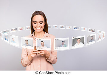 Close up photo reader she her lady check lots email letters telephone post share repost like heart blog digital illustration guys dating site futuristic creative design isolated grey background