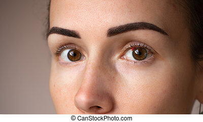 Close up photograph of a woman's eye