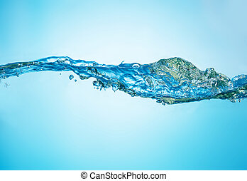 Close-up picture of abstract water wave with bubbles.