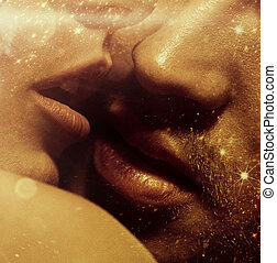 Close up picture of sensual lips - Close up photo of sensual...