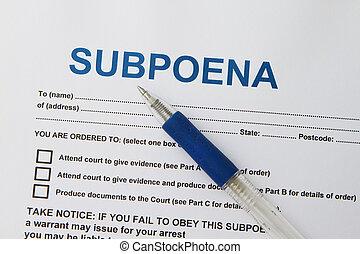 Subpoena  - Close up picture of  Subpoena with pen.