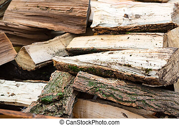 Close up pile of firewood