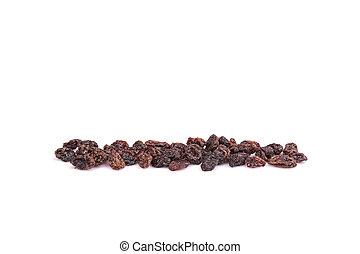 Close up pile of raisin isolated on white