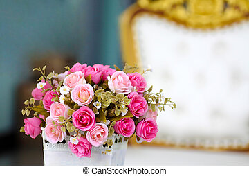pink rose bouquet in luxury living room
