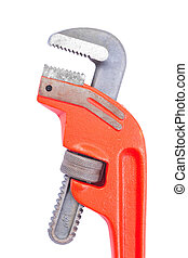 close up pipe wrench isolated