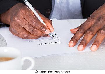 close-up, planificação, lista, mão