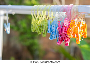 Close up plastic clips