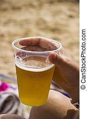 plastic glass of beer