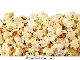Close-up popcorn border isolated on white
