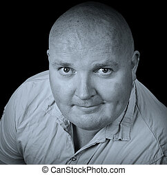 close up portrait casual male overweight