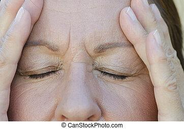 Close up portrait concerned woman - Close Up portrait of...