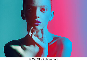 Close up portrait fashion color and lights - beautiful women...