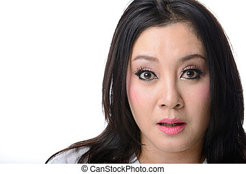 Close-up portrait of a asian woman scared and afraid with wide opened eyes isolated on a white background