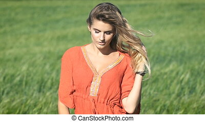 Close-up portrait of a beautiful blonde young romantic woman...