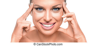 Close up portrait of a beautiful blue eyed woman toucnig her face over white background.