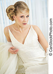 Close Up Portrait of a Beautiful Bride in White Dress