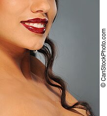 Close-up portrait of a beautiful brunette woman