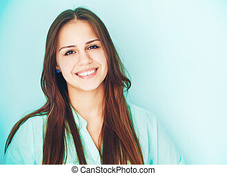 Close up portrait of a beautiful cute teen girl smiling