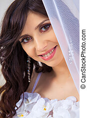 Close-up portrait of a beautiful girl in a dress with a neckline