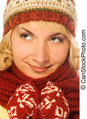 Close-up portrait of a beautiful girl in winter clothing