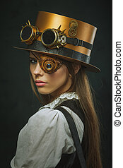 Close-up portrait of a beautiful girl steampunk, hat and...
