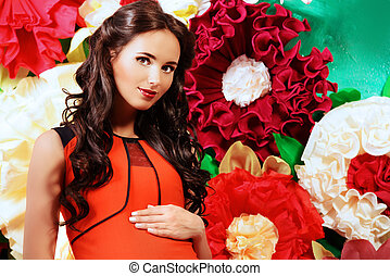 flowers - Close-up portrait of a beautiful pregnant woman...