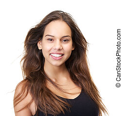 Close up portrait of a beautiful young woman smiling on isolated white background