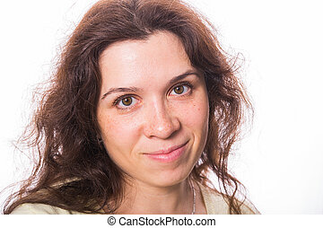 Close up portrait of a beautiful young woman with curly hair on white background