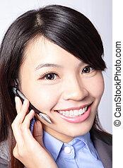 business woman wearing headset