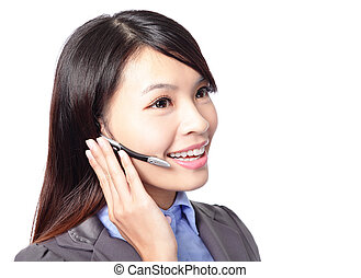 call center employee wearing headset - close up portrait of ...