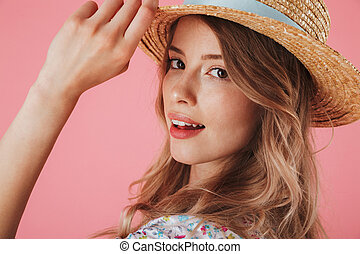 Close up portrait of a charming young woman
