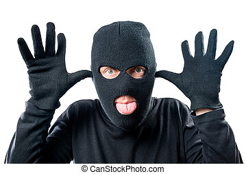 Close-up portrait of a criminal masked cheerful facial expression