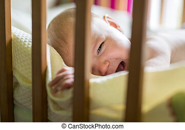 Close-up portrait of a crying cute baby in the crib at home